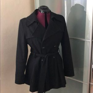 Via Spiga black mini pea coat